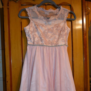 Girls Pink Dress with rhinestones accent